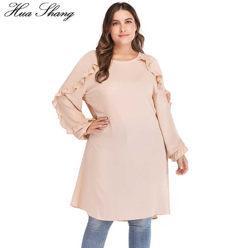 a896d142dd ... sobre 4XL 5XL Plus tamaño 2018 mujeres Otoño Invierno cuello redondo de  manga larga con volantes camisa blusa suelta gran tamaño señoras túnica Tops  en ...