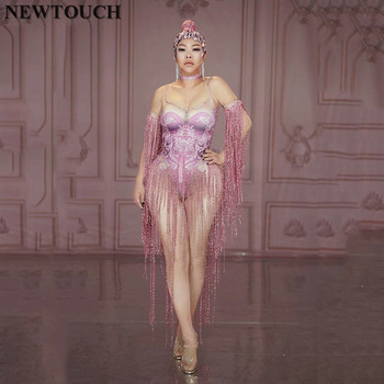 Sparkly Red 3D Printing Fringes Jumpsuit Singer Performance Tassels Bodysuit Party Celebrate Glisten Rhinestones Sexy Costume