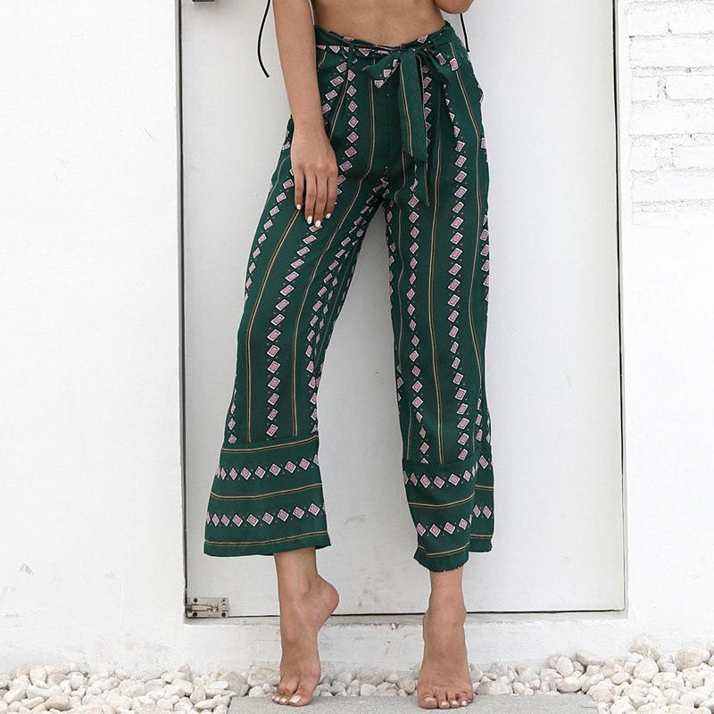 women high waist   pants   plus size summer   wide     leg     pants   trousers boho beach loose casual   pants   pantalon taille haute femme 81670.