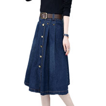 New Women Denim Skirt 2019 Fashion Spring High Waist A Word Skirt Summer Single-Breasted Solid Color Denim Skirt Female JIA282(China)