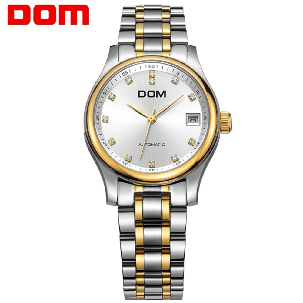 men watch DOM stainless steel mechanical top Brand man watches luxury waterproof crystal reloj hombre M-95G-7M pechoin 95g