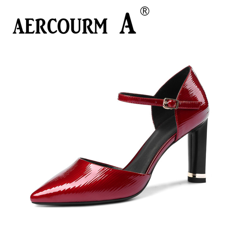 Aercourm A Women Pointed Toe Pumps Patent Leather Shoes Lady Buckle Strap Solid Shoes 2018 Wine Red Black Casual Shoes MLD320-1 patent leather pumps shoes red black