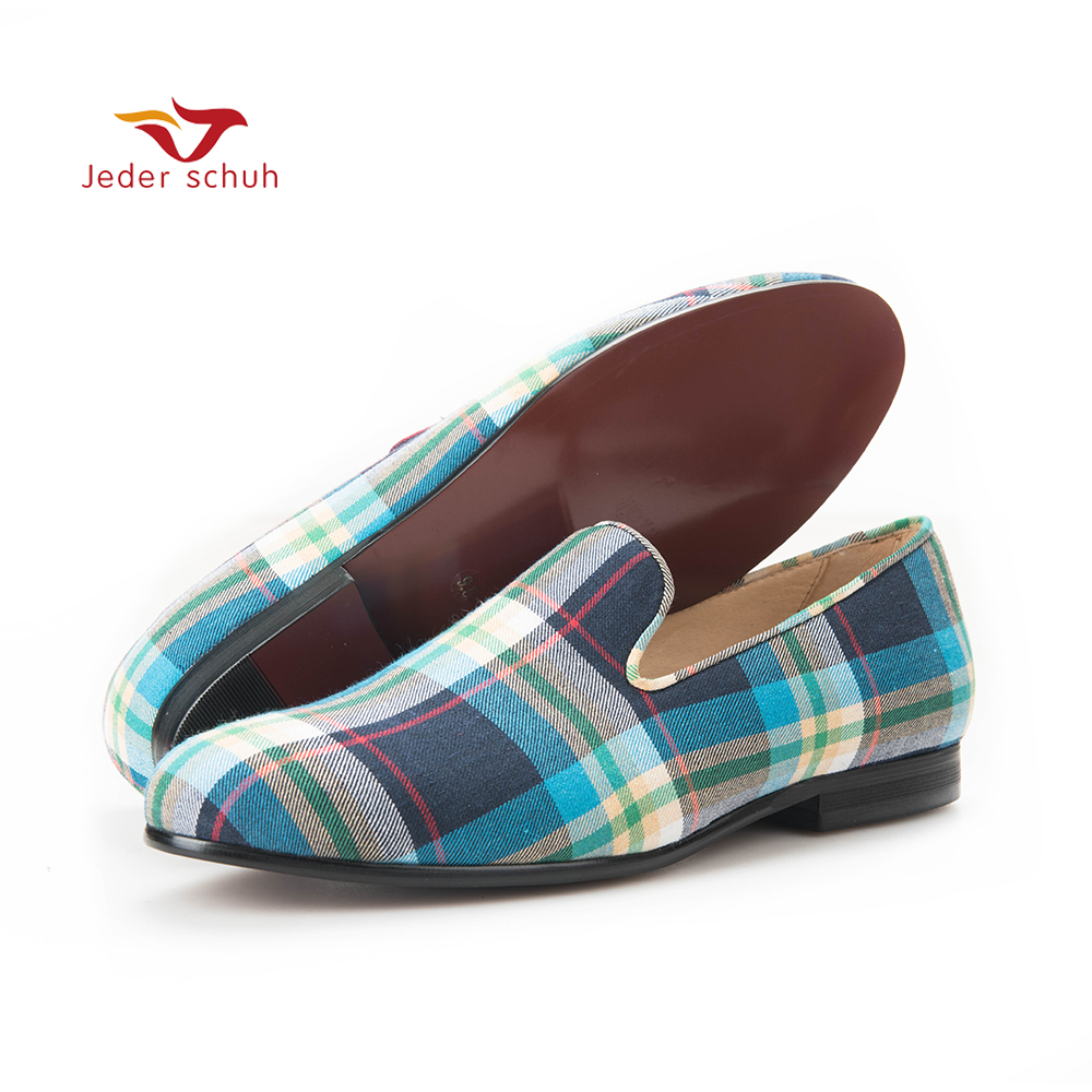 2017 new arrival Blue and Green Plaid Men Canvas shoes British style male Casual Slip on
