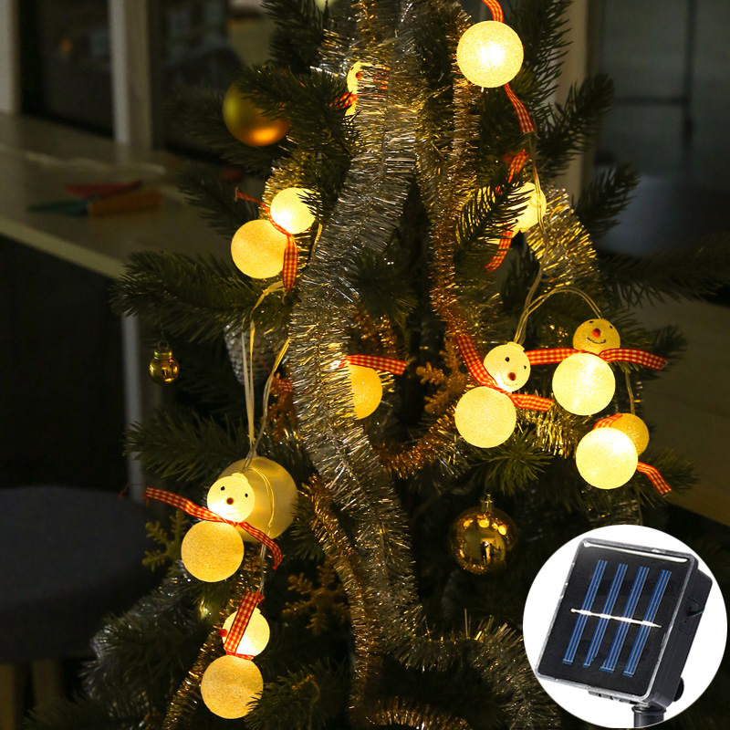 solar power snowman wearing a scarf string light gerlyanda decorative led christmas lights for party holiday decoration garland