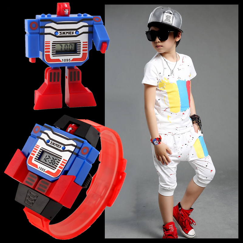 SKMEI Kids LED Digital Watches Children Transformation Cartoon Sports Eletronic Watch Boys Robot Toys Wristwatches Montre Enfant