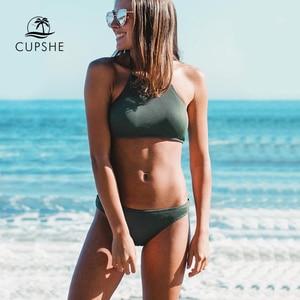 Image 1 - Cupshe Matcha Ijs Halter Bikini Set Vrouwen Solid Backless Crop Top Sexy Twee Stukken Badmode 2020 Meisje Strand Sexy badpakken