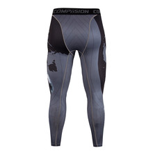 Fitness mens tights fitness compression pants fashion bodybuilding quick-drying stretch clothing