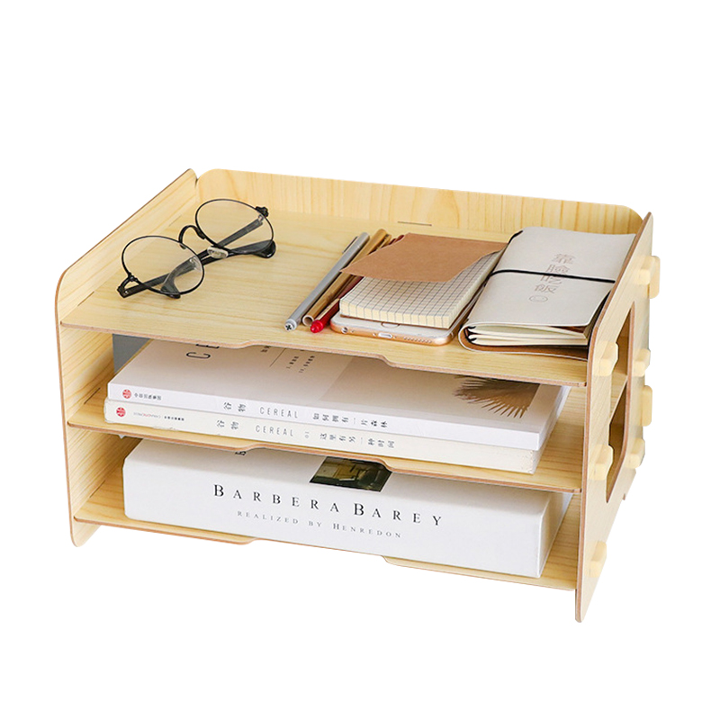 Simple Three-tier Desktop Storage Rack Office Documents Debris Storage Management Office Study Book Storage Organizers Home Tool