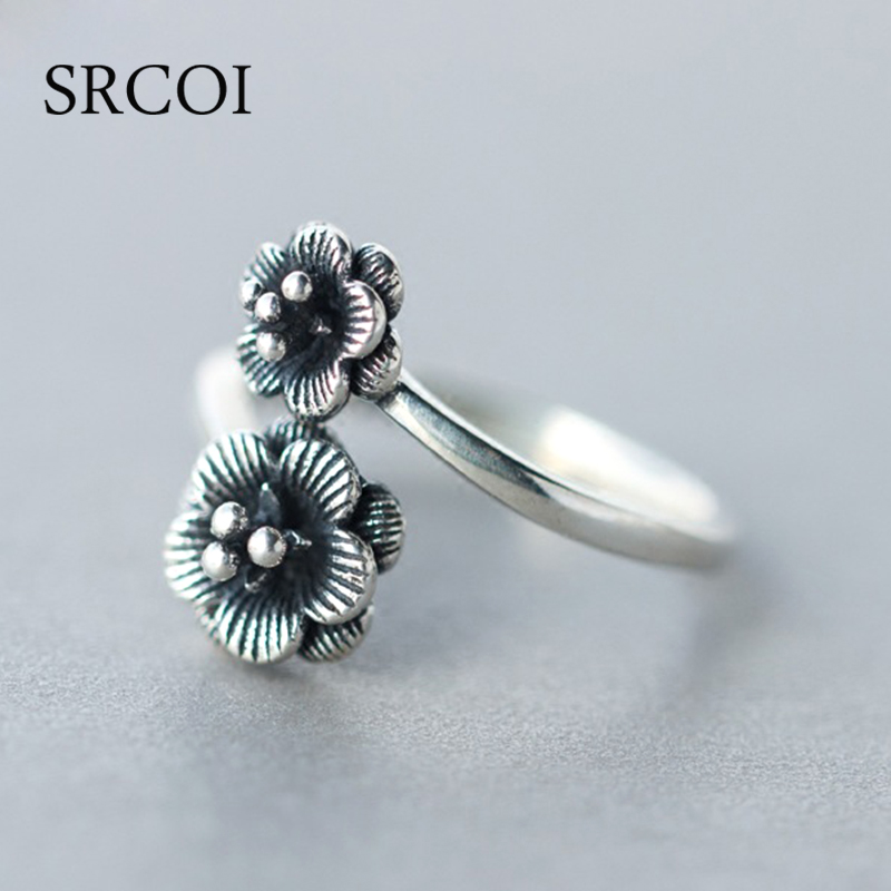 SRCOI New Vintage Thai Silver Double Rose Flower Ring Adjustable Cuff Antique Ring Old Jewelry Sterling Silver Rings Female 925