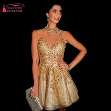 Gold Pailletten Short Mini Cocktailkleider robe de cocktail 2016 Nach Maß vestidos de festa curto e elegante TB1332
