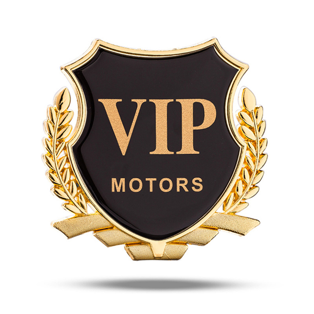 Gold Silver Wheat Vip Motors Shield Emblem Logo Fender C Pillar Trunk Decoration Car Styling Sticker For Bmw Benz Vw Audi Ford