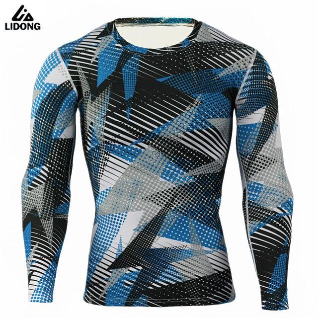 Mouw T Camouflage O Shirt Snelle Hals Sport Panty Running Droog Heren Compressie Lange ZzBF0Ww