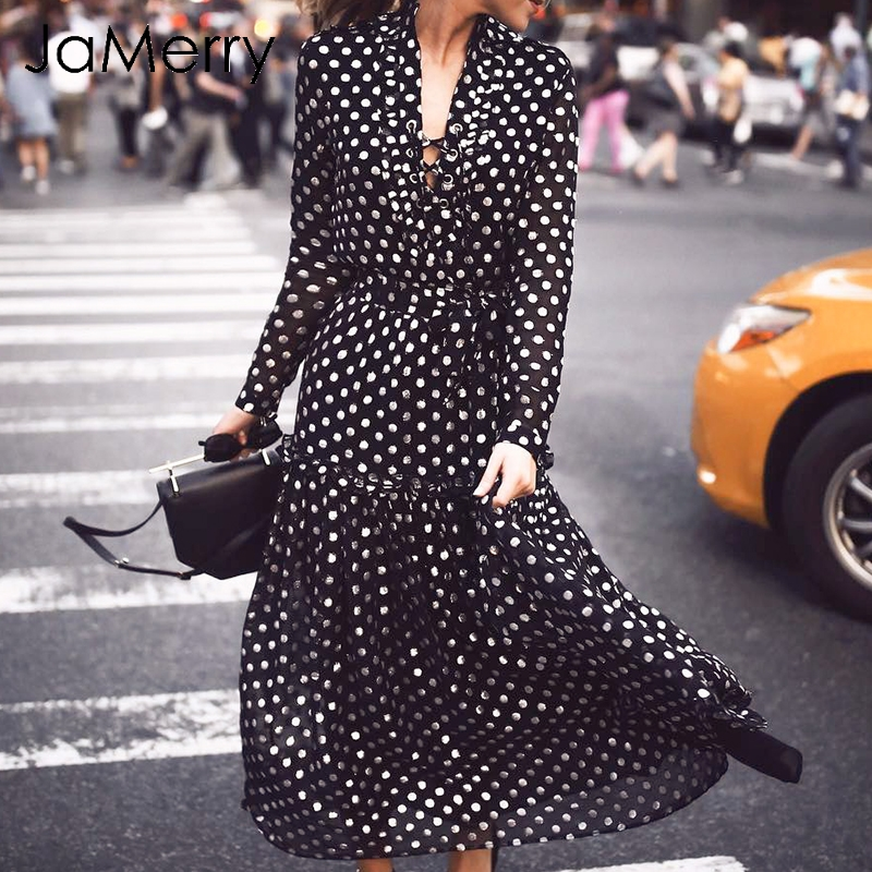 JaMerry Sexy lace up boho polka dot long maxi dress women Lo