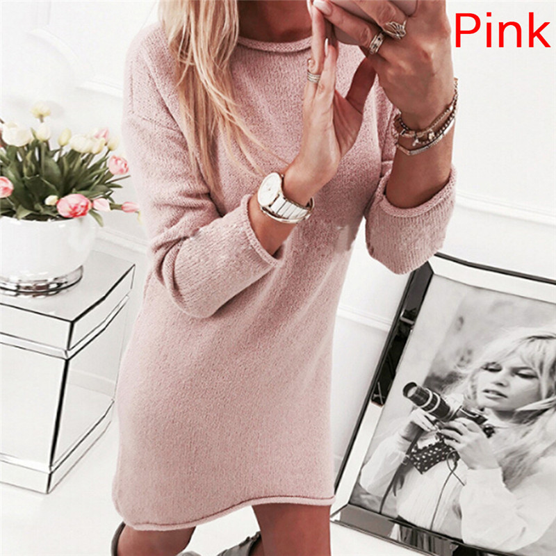 Long Knitted Sweater Christmas Sweaters And Pullovers Long Sleeve Dress Casual Solid Winter Jumper Pull Femme For Women Girls
