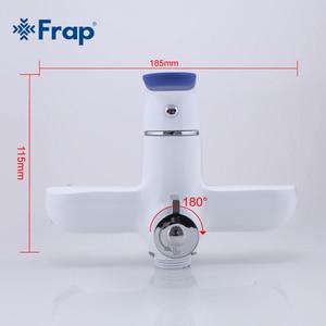 Image 5 - Frap מודרני סגנון אמבטיה ברז קיר רכוב קר וחם מים מיקסר ברז רב צבע ידית כיסוי אפשרויות 35cm אף ארוך F2234