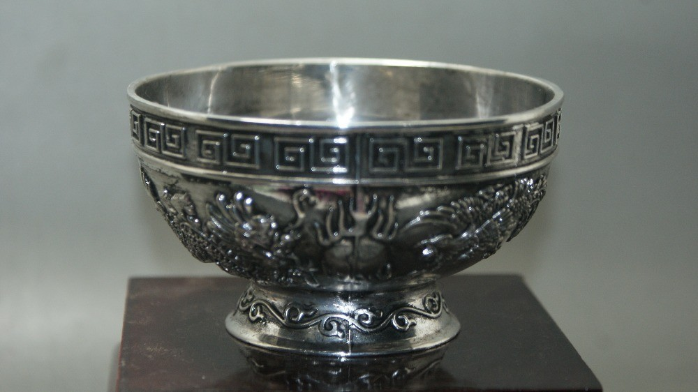 Chinese old Miao silver Carving Dragon Phoenix Bowl Collectible Bowls
