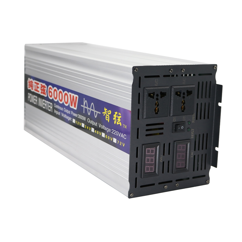 Peak 6000W OFF Grid Inverter Pure Sine Wave DC 12V/24V to AC 220V Power Inverter Converter Dual Digital Display for Solar System digital display 6000w peak 3000w pure sine wave power inverter converter 12v dc to 220v 230v 240v ac