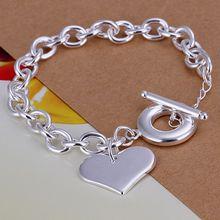 Fina del verano del estilo de plata chapada pulsera 925-sterling-silver joyería bijouterie heart chain pulseras para mujeres hombres SB285
