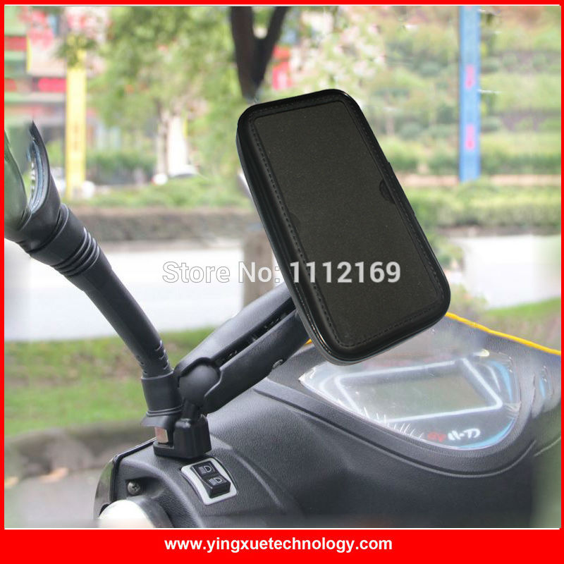 motorcycle scooter mirror rear view cell phone mount holder waterproof zipper case for all cell. Black Bedroom Furniture Sets. Home Design Ideas