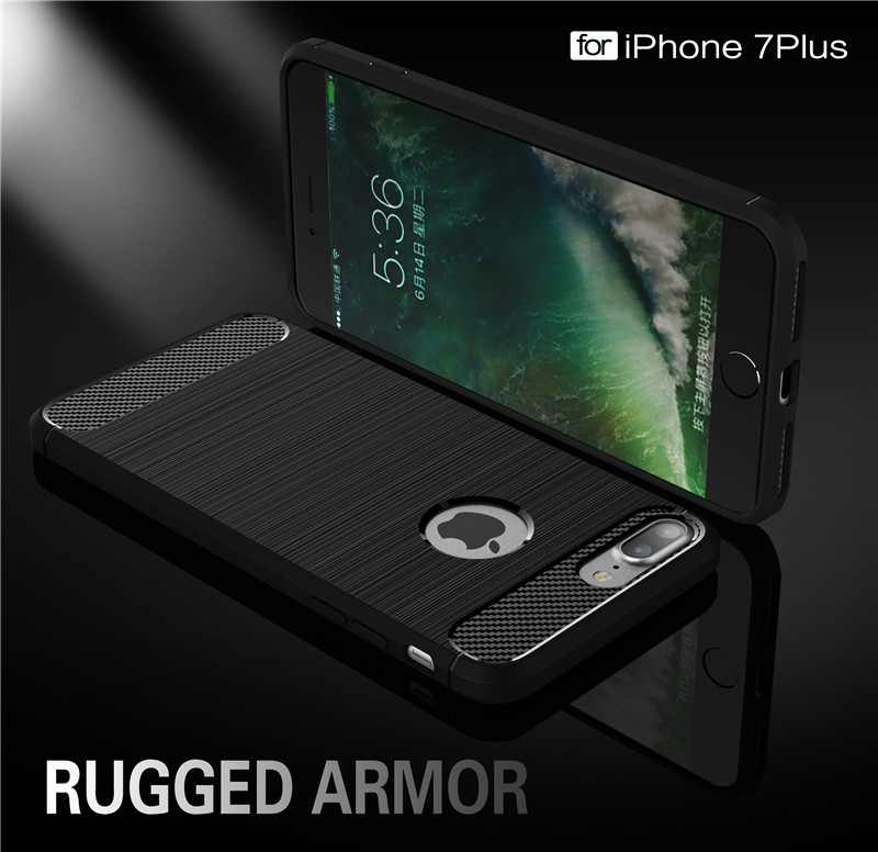 Fashion Highly Armor Cases For iPhone7Plus 5.5inch Silicon Phone Case Carbon Fibre Shell For iPhone8 Plus Soft TPU Housing Back