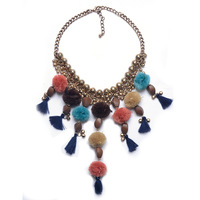 2016 New Bohemia Flocculus Statement Necklace Fashion Gold Plated Wome Silk Tassel Pendant Choker Jewelry Accessorieson