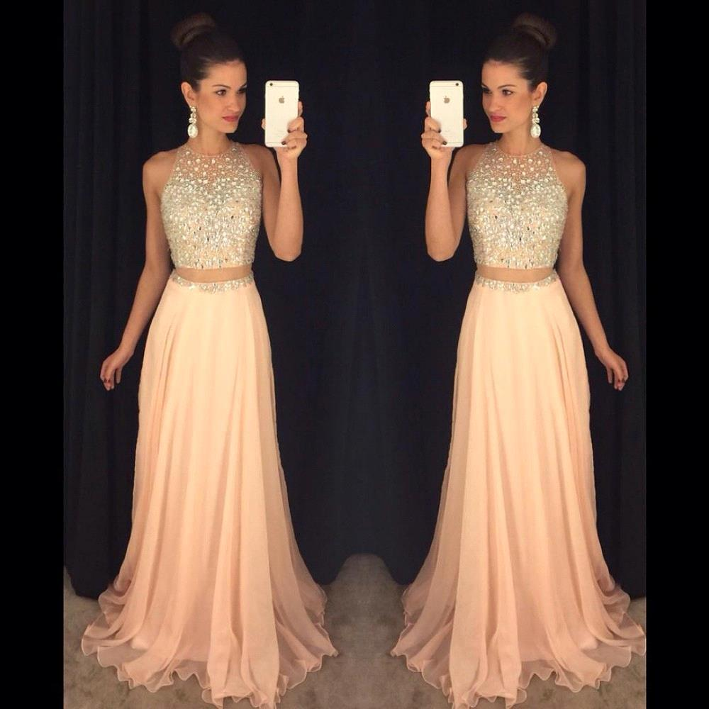 Pink 2019   Prom     Dresses   A-line Chiffon Beaded Crystals Two Pieces Elegant Long   Prom   Gown Evening   Dresses   Robe De Soiree