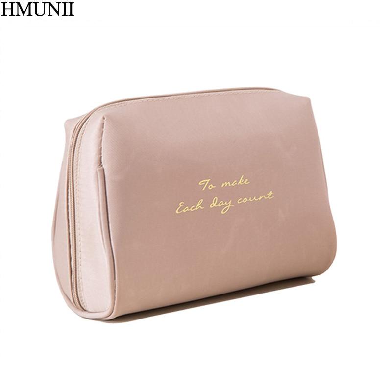HMUNII Portable Make Up Women Makeup Organizer Bag Girls Cosmetic Bag Toiletry Travel Kits Storage Bag Hand Bag B1-34