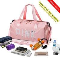 Yoga Mat Bag Fitness Gym Bags Sequins Pink Nylon Waterproof Handbags For Women Men Shoes Travel Training Sac De Sports Backpack