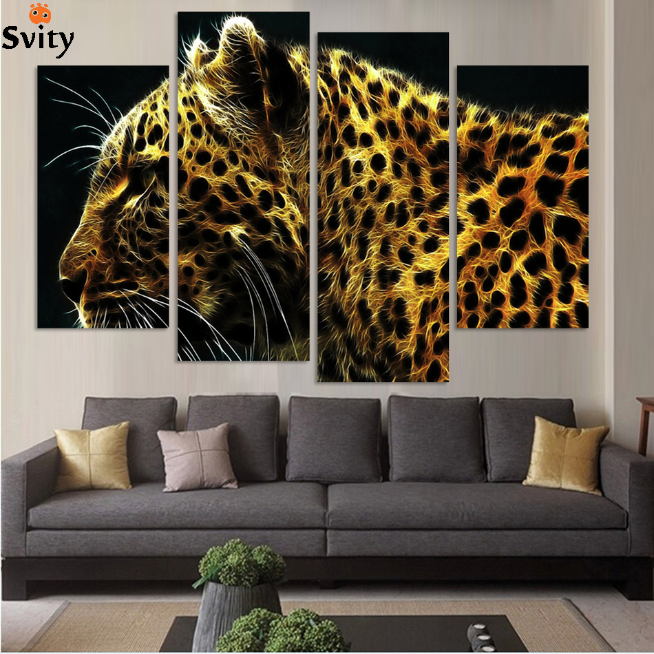 4 Panel Leopard Pictures abstract Painting Wall Decor Canvas Pop Art Cuadros High Defina ...