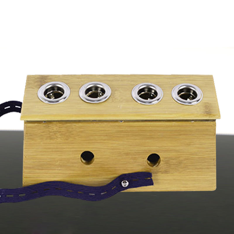 Natural bamboo wooden moxibustion box Household article four Kong Yi grass warm moxibustion instrument long 4 eyes with moxibust