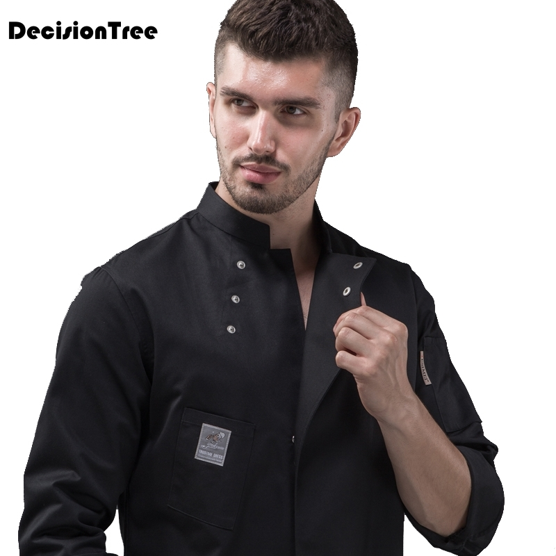 2019 arrival men kitchen restaurant cook workwear chef uniform multiple colour shirt double breasted chef jacket image