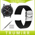 Correa de caucho de silicona venda de reloj de 22mm para samsung gear s3 classic frontera de seguridad de acero inoxidable hebilla de cinturón de pulsera negro