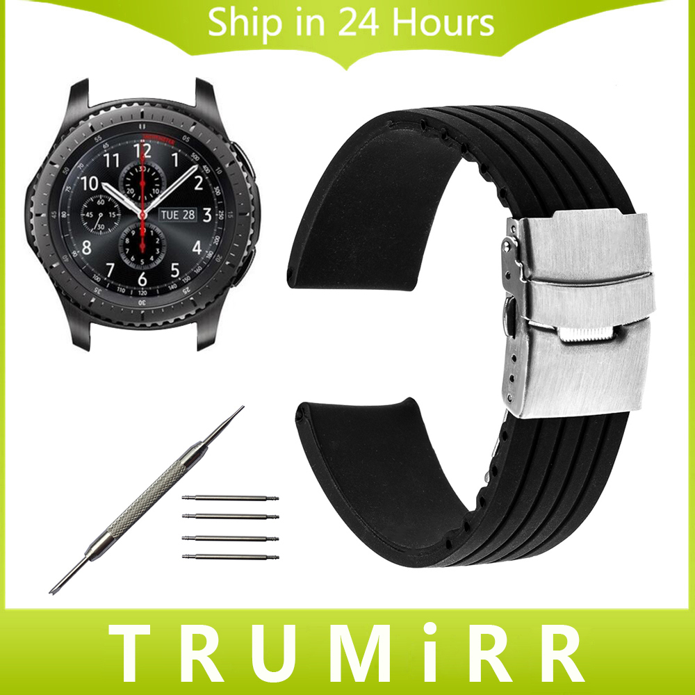 Silicone Rubber Strap 22mm for Samsung Gear S3 Classic Frontier Garmin Fenix Chronos Watch Band Safety Clasp Belt Wrist Bracelet crested sport silicone strap for samsung gear s3 classic frontier replacement rubber band watch strap for samsung gear s3