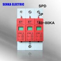 SPD 40-80KA 3 P parafudr koruma cihazı elektrik evi dalgalanma koruyucusu B ~ 385 V AC