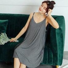 Home Wear Nightgowns Women Short Sleepwear Summer Lady Comfortable Loose Nightdress Gray Pink