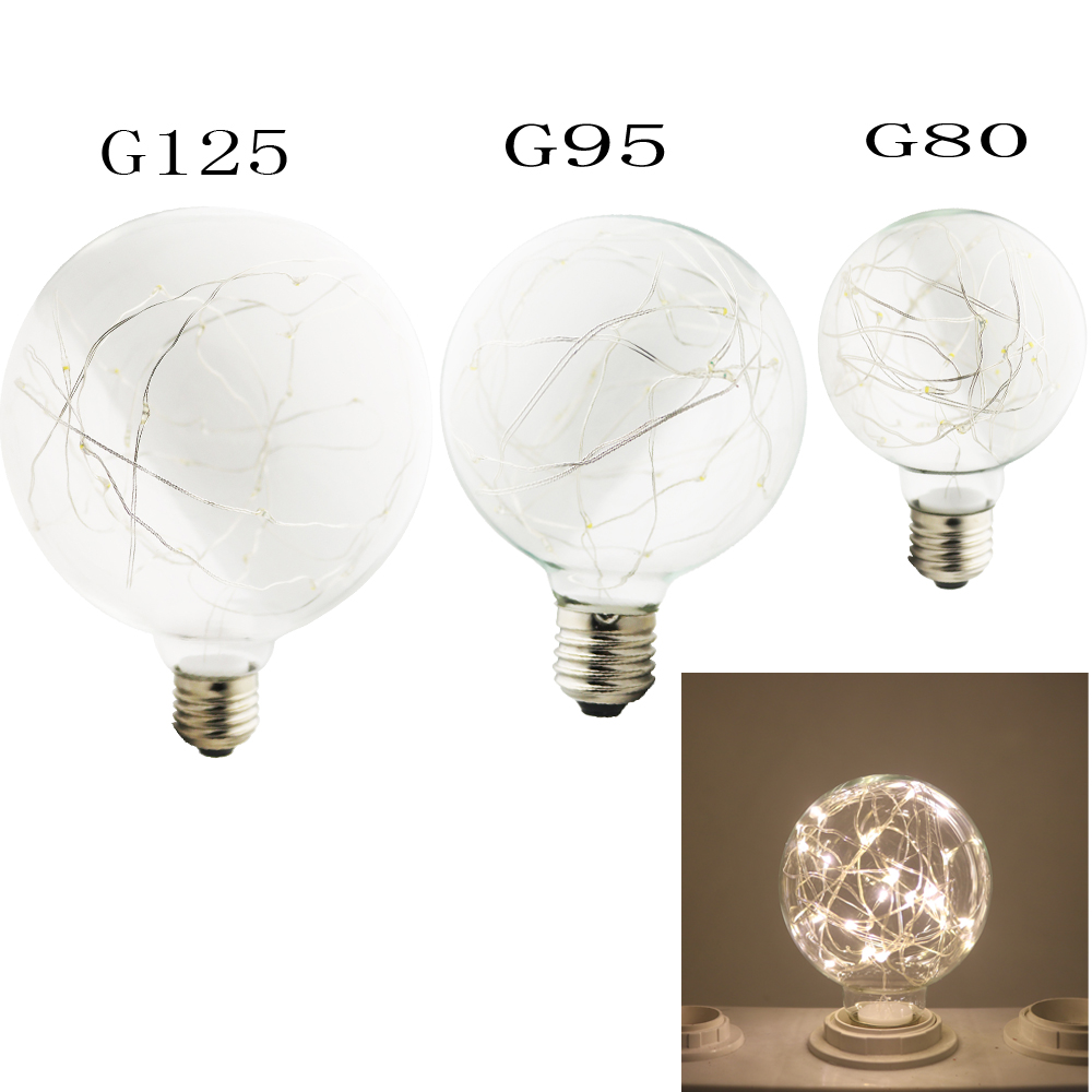 Vintage 3W Filament Copper Wire G80 G95 G125 LED Light Bulb E27 Base Ball Shape Decorative for Holiday Wedding Christmas