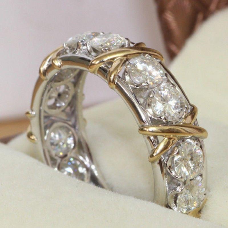Éternité Diamonique CZ 10KT Blanc et Jaune Or Rempli AAA CZ pierres Simulées Engagement Wedding Band Cercle Anneau CADEAU Taille 5-11