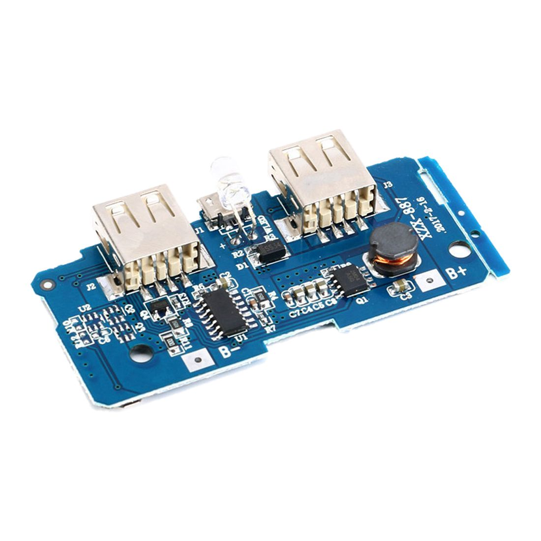 HFES 2 pcs Dual Micro-USB 3.7v to 5V 2A Mobile Power Bank DIY 18650 Lithium Battery Charger PCB Board Boost Step Up Module