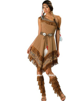 Free Shipping Ladies Pocahontas Native American Indian Wild West Fancy Dress Party Costume Indian Costume