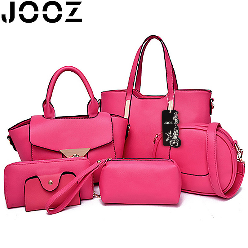 ФОТО JOOZ Brand Luxury Women PU Leather Handbags Zipper 6 Pcs Set Satchels Handbags Bolsa Feminina Shoulder Crossbody Bags