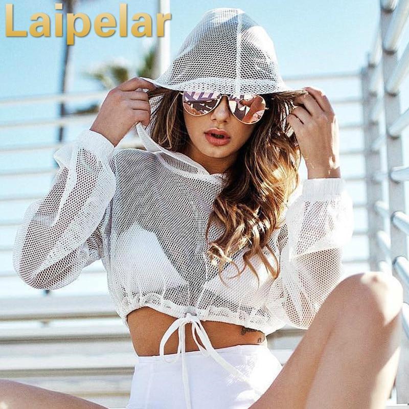 Fashion Summer Hoodies Women Sweatshirts Casual Tops White Pullover Long Sleeve Hooded Tops Short Shirt Transparent Hoodie