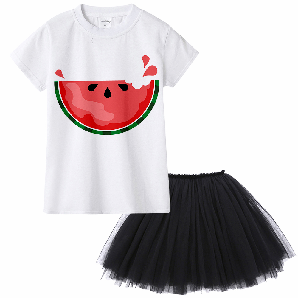 Watermelon Clothing Set Kids Girl Summer Fruit Pattern Print Baby Girl Clothes Casual Watermelon Tops + Tutu Skirt 2pcs Suit 2pcs children outfit clothes kids baby girl off shoulder cotton ruffled sleeve tops striped t shirt blue denim jeans sunsuit set