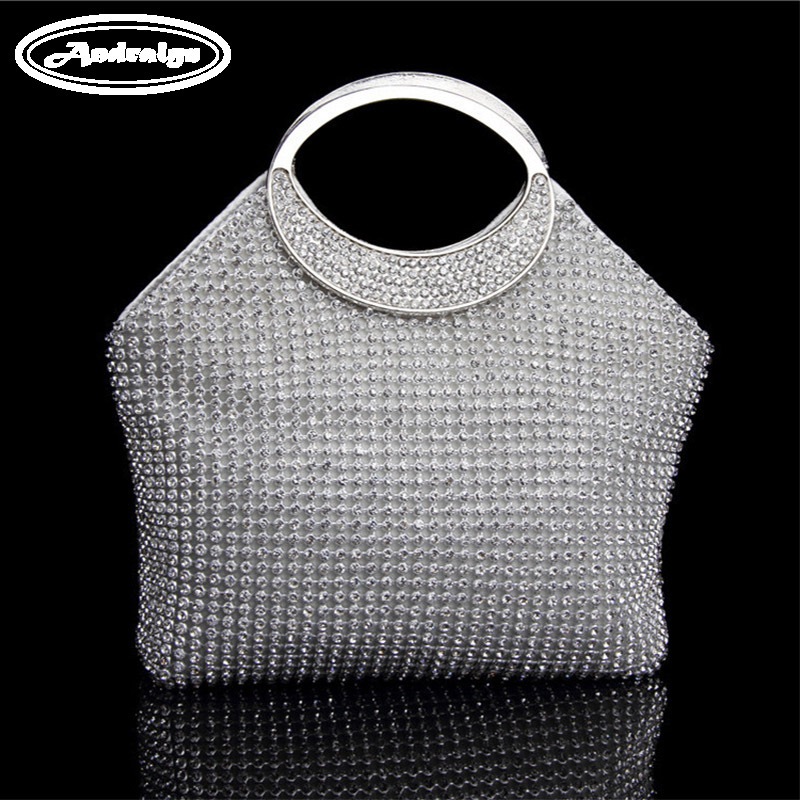 Andralyn 2017 Fashion Double Diamonds Women Bag Crystal Ladies Evening Bag Tote Bag Women Handbag For Wedding/Party/Dinner andralyn 100pcs nylon clevis 1 2xl21mm