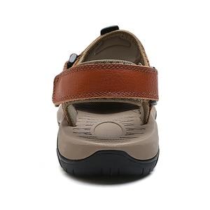 Image 5 - Mynde 2019 חדש גברים קיץ סנדלי עור אמיתי חדש לגמרי חוף גברים סנדלי נעלי בית לנשימה באיכות גבוהה גברים נעליים יומיומיות