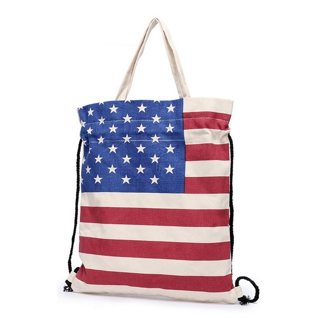 British American Flag Print Women Canvas Tote Shopping Bag Ladies ...