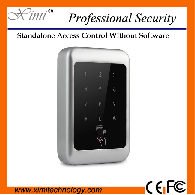 Touch led exit button waterproof 2000 capacity smart MF card access control M07-C standalone access control without software low cost m07e access control kit without software waterproof card reader card access control device with magnetic lock