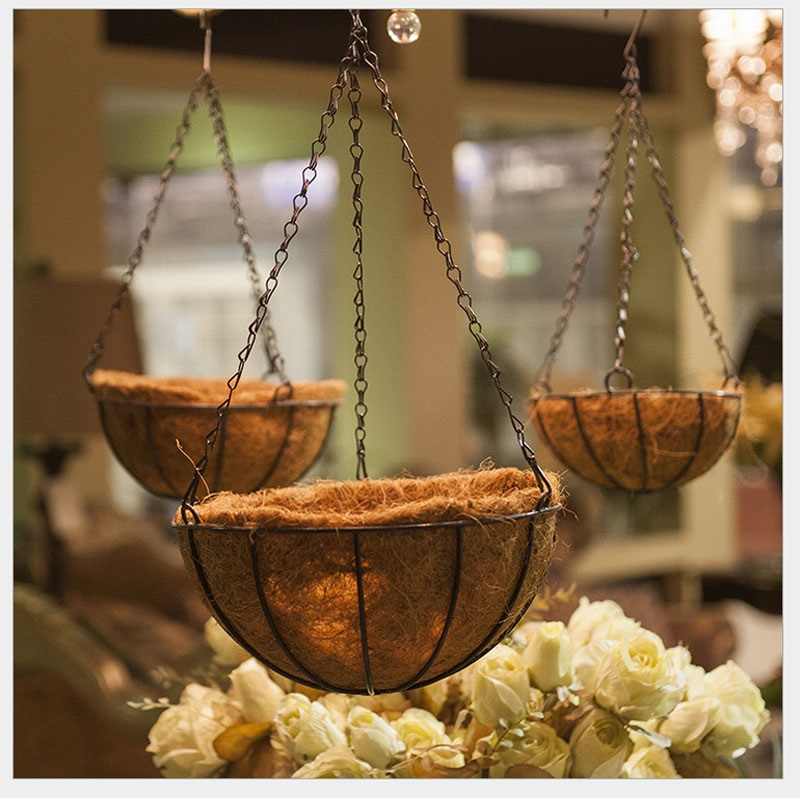 Wrought Coconut Half Round flowerpot Hanging Pots Window Rattan Decorative Pots Wall Iron Garden Plant Planter Basket ZA3335