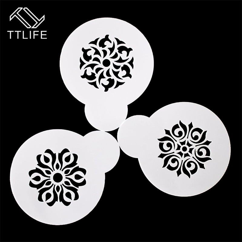 TTLIFE New Cake Decorating Tools Coffee Mold Garland Mold Fancy Coffee Printing Model Mould Thick Cafe Foam Spray Template 3PCS