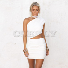 Cuerly 2 Piece Set Sexy Womens Dress one shoulder White mini dress Bodycon Party Dress Night Club Wear Outfits vestidos цена