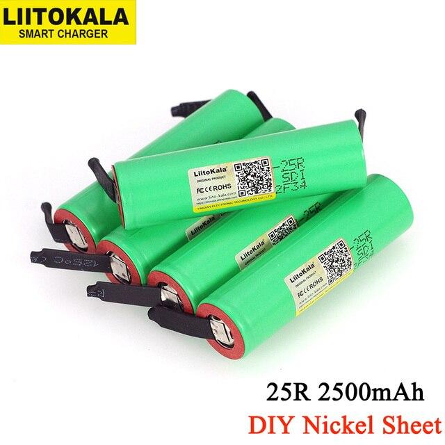 Liitokala 100% Новый оригинальный 18650 INR1865025R 20A разрядный литий ионный перезаряжаемый аккумулятор + DIY никель